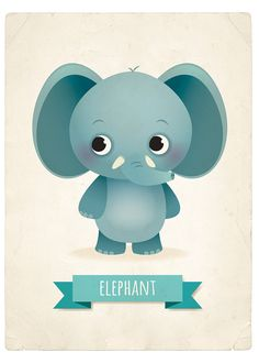 Elephant art print nursery illustration 5x7in by IreneGoughPrints