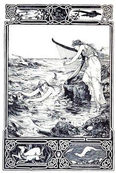 The Sea Maiden Illustration by John D. From Celtic Fairy Tales collected by Joseph Jacobs. Art Vampire, Vampire Knight, Siren Mermaid, Mermaid Art, Vintage Mermaid, Mermaids And Mermen, Samurai Tattoo, Fairytale Art, Celtic Art