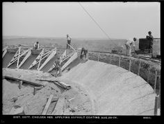 Distribution Department, Chelsea Reservoir, applying asphalt coating, Chelsea, Mass., Aug. 29, 1904.   Asphalt is still used to waterproof drinking water reservoirs... http://asphaltmagazine.com/asphalt-for-containment-facilities-past-present-and-future/
