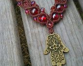 Hamsa Hand Macrame Necklace, Hemp Necklace, Protection, Amber Glass Beads, High Quality Hemp, Eco-Friendly, Boho, Bohemian, Gypsy Jewelry
