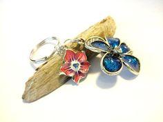 Beautiful Feminine Flower Keychain Blue Enamel by YoursTrulli