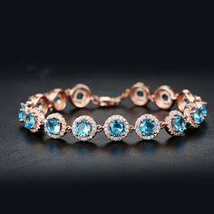 【2015 Popular Stunning Austrian Blue Crystal Bracelet in Round Shape】