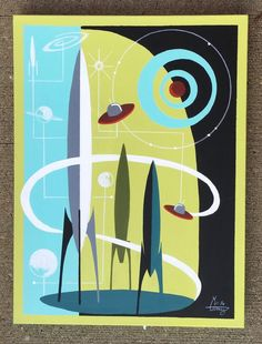 EL GATO GOMEZ PAINTING RETRO 1950'S SCI-FI SPACE MID CENTURY MODERN ABSTRACT #Modernism