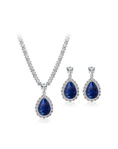 #VIPshop Dark Blue Studded Charm Zircon Water Drop Jewelry Set❤ Get more outfit ideas and style inspiration from fashion designers at VIP.com.