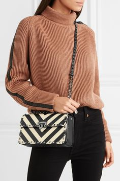 8591cfe9607 Valentino - Valentino Garavani The Rockstud striped leather shoulder bag