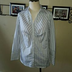 """Gray long Sleeve Button Up Striped  Blouse Worthing brand. Womens stretch size 1X. Full button up front with pleated bust. Gray pinstripes and white stripes pattern. Long sleeve. Nice long length. 29"""" from top of shoulder to bottom hem.  Excellent condition! Worthington Tops Button Down Shirts"""