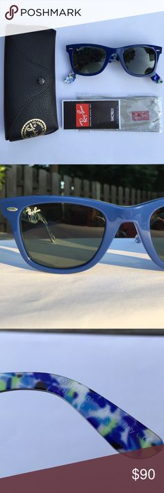 Blue/floral Ray-Ban Wayfarer Special series Ray Ban Wayfarer. Ray-Ban model: RB2140 1019. Frame color: Cobalt blue/Floral. Lens size: 50 mm Bridge size: 22mm. Includes leather case, microfiber cleaning cloth and booklet. Very small unnoticeable scratch on rim ( last photo) very hard to capture in photograph. Only worn a handful of times. Any questions please ask! Ray-Ban Accessories Sunglasses