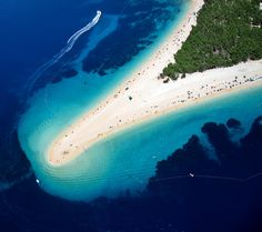 Zlatni Rat, often referred to as the Golden Cape or Golden Horn (translated from the local Chakavian dialect), Bol, Croatia ~ white pebble beach & mediterranean pine forest - considered one of Europe's best