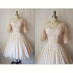 50s Wedding Dress // Vintage 1950s White Peach Lace Full Wedding Party Prom Tea Dress