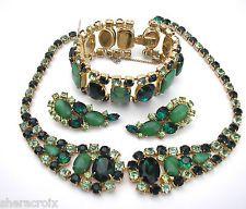 Vintage Juliana D&E Prong Green Rhinestone 3 pc Set Necklace Bracelet Earrings