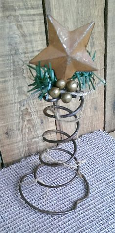 Rustic Christmas Bed Spring Rusty Star Tree l by FunkyJunktique