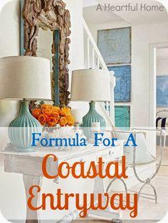A Heartful Home: {31 Days of Coastal Style} Formula for a Coastal Entryway [Buy or DIY]