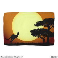 Kangaroo at sunset towels