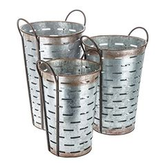 Rustic Tall Galvanized Metal Olive Bucket Set of Three Floral Baskets (Farmhouse Ranch Home Decor) ** You can find out more details at the link of the image. (This is an affiliate link) #WallSculptures