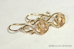 Gold Swarovski Crystal Earrings Wire Wrapped by JessicaLuuJewelry