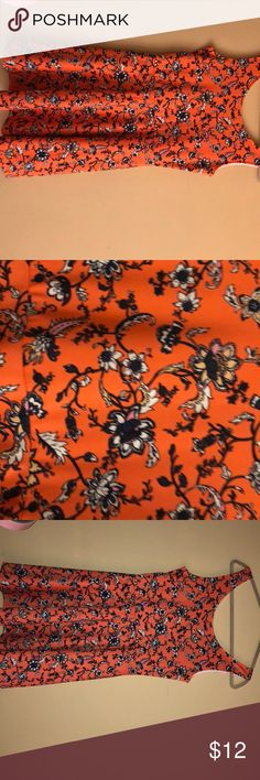 A floral dress from H&M Orange  Dark blue flowers Woven viscose fabric Divided Dresses Midi