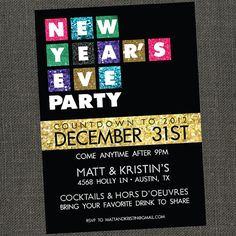 new years eve party invitation, new years invitation, hello 2017, Party invitations