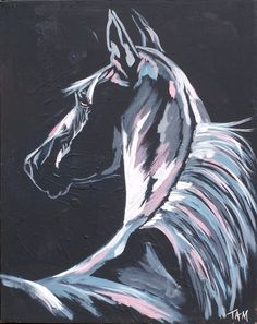 "Nighttime Horse Painting - ""Moonlight"" by TAM."
