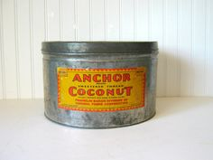 Antique Tin Anchor Brand Coconut 1920's by RollingHillsVintage