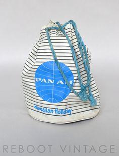 Vintage Pan Am Airlines Striped Drawstring Bag - Beach / Pool Tote - 1980s