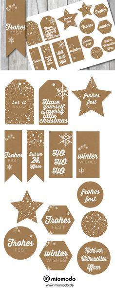 Christmas gift tags in kraft paper look Christmas Mood, Christmas Gift Tags, Christmas Countdown, Little Christmas, Christmas Design, Merry Christmas, Diy Presents, Paper Tags, Printing Labels