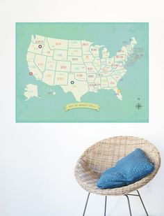 My Travels Personalized Wall Map Print by ChildrenInspire on Etsy, $38.00