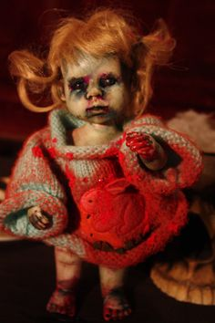 creepy zombie reborn recycled re-painted upcycled ooak doll