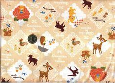 Kokka Push Pin November Books Geschichte in Waldern Squares Beige --- Hedgehog, bear, bambi, birds, Thumbelina, ducks, goat.