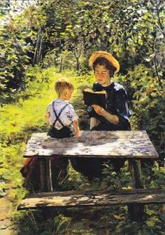 """Reading Woman with Child, in Summer' by Russian painter Yury S. Podlyasky (1923-1987)."