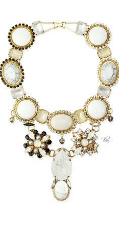 VICKISARGE ● Resort 2015, Gold Swarovski crystal, Agate, Mother of pearl statement piece
