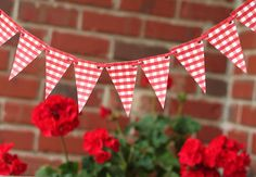 6 foot red gingham Pennant flag banner