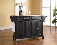 Crosley Furniture KF30001EBK Natural Wood Top Kitchen Cart/Island in Black Finish