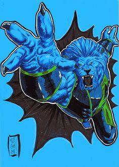 "Hank ""Beast"" McCoy, markers on blue paper"