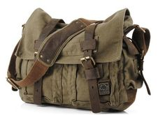 "Amazon.com: Men's Trendy ""Colonial"" Italian Style Messenger Bag with Leather Straps - Army Green: Shoes"