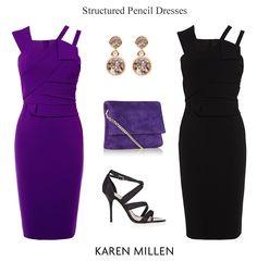 Karen Millen pencil dresses purple and black cocktail evening wear and party dresses
