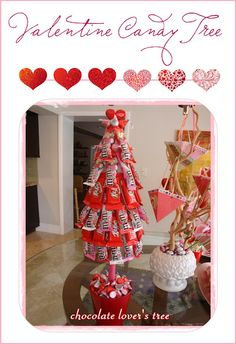 */ Valentine Candy Tree....what a great idea for the kids' valentine sweets