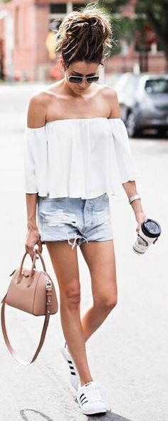 White Off The Shoulder Top + Cutoffs + Sneakers                                                                             Source