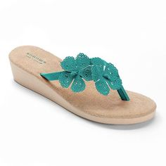 SONOMA life and style Cut-Out Floral Wedge Flip-Flops