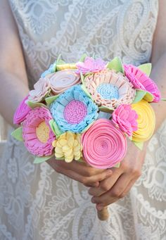 Felt Bouquet Wedding Bouquet Alternative by SugarSnapBoutique, $118.00