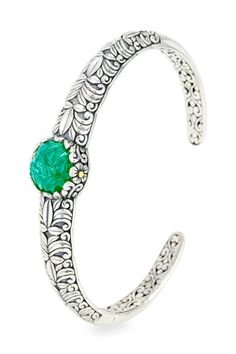 Carved Green Onyx Sterling Silver Bangle with 18K Gold Accents | Cirque Jewels