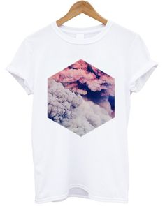 CLOUDS T Shirt Clouds Top Hipster Fashion BOHO T Shirt, Women T Shirts White T-Shirt CLOUDS T Shirt for Women