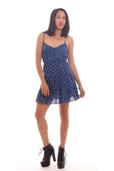 Blue and White Polka Dot Dress, $10, XS, benefits charity. Only at ModaVive.com #loveMV