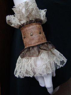 Steampunk Victorian lace wrist cuffs