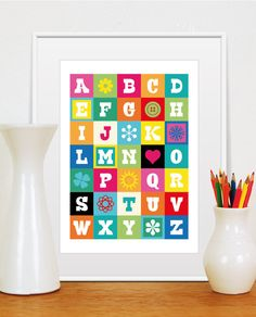 ABC, Poster with Alphabet, Colors in the image, Very Colorful Illustration, Size A3