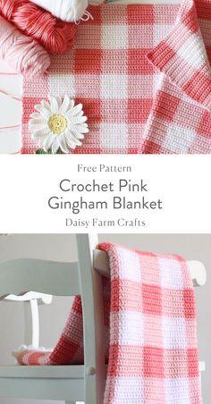 Crochet Pink Gingham Blanket - Free Pattern