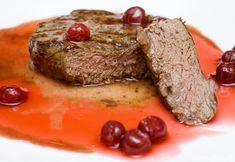 Gourmet food - steak in cherry sauce. Gourmet food - steak in red cherry sauce , Cherry Sauce, Gourmet Recipes, Steak, Dinner, Food, Student Resume, Red Sauce, Resume Templates, Dining