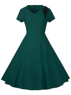 cebc6dd3cb3 Lace Embroidered Insert 1940S Cocktail Swing Dress - GREEN M 1940s Dresses