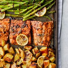 Yukon Golds are great here because they get crispy on the outside but completely creamy on the inside. A brush stroke or two of balsamic glaze provides a rich color and a sweet finish to the roasted salmon. Salmon Recipes, Fish Recipes, Seafood Recipes, Cooking Recipes, Pescatarian Diet, Pescatarian Recipes, Potato And Asparagus Recipe, Low Calorie Recipes, Healthy Recipes