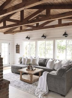 34 Insane Farmhouse Living Room Decor And Design Ideas. 34 Insane Farmhouse Living Room Decor And Design Ideas. Living Room Lighting Comes in a Large Range of Styles. Living room lighting ideas You can get more details by clicking on the image. My Living Room, Home And Living, Small Living, Living Room With Windows, Gray Couch Living Room, Kitchen Living, Living Room Remodel, Living Room Ideas House, Living Room Decor Ideas Grey