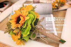 Gratis verzending landelijk zonnebloem hand boeket/bruidsboeket/high ...